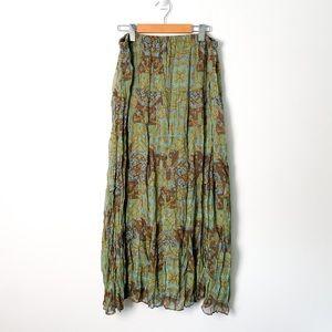 Vintage Green Bohemian Floral Maxi Ruffled Skirt